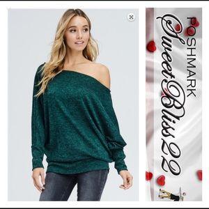 Tops - 💥Hunter Green Off The Shoulder Top💥